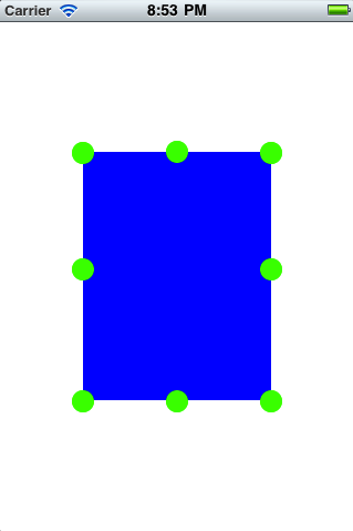 "Blue square with round green ""knobs"" on all four corners and at the mid-point of all four borders"