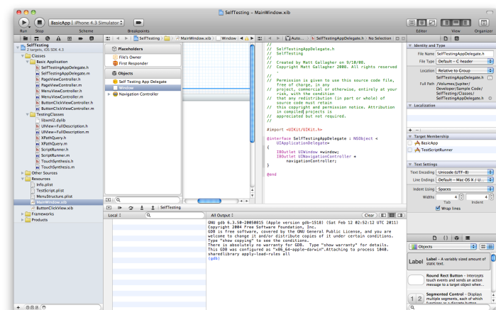 Picture of Xcode 4 main window with many side views opened at once and two main editor windows, with area to actually type and edit very constrained