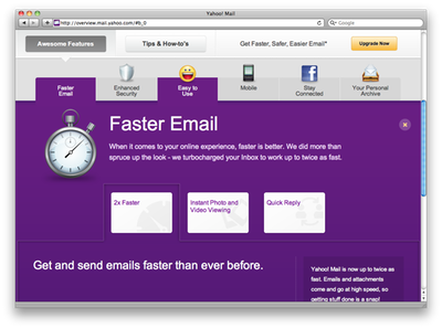 Space below selected 'Faster Email' tab has purple background and promotional contents.