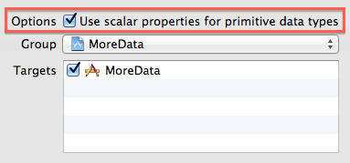 Screenshot of a portion of Xcode's Create NSManagedObject Subclass sheet, with the 'Use scalar properties for primitive data types' checkbox highlighted