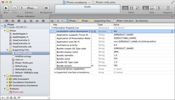 Xcode's plist editor