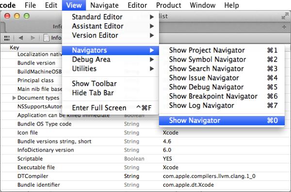 Xcode's View / Navigators / Show Navigator menu item