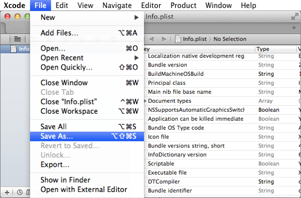 Xcode's Save As menu item