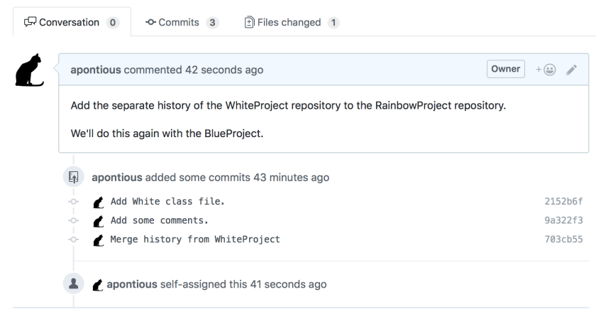 Screenshot of GitHub pull request user interface including PR text and list of commits.