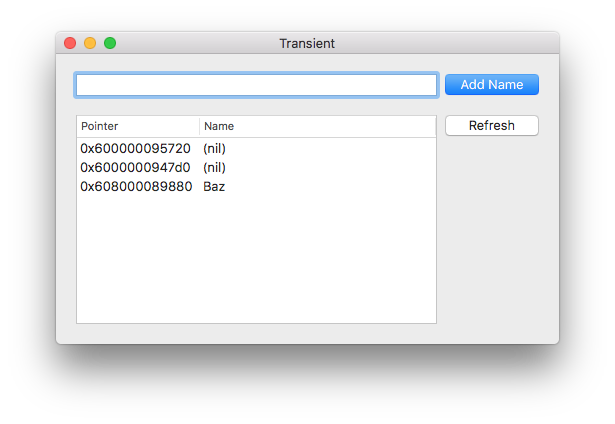 Transient app window showing three rows, with two having nil name attributes, and only the third having a non-nil name
