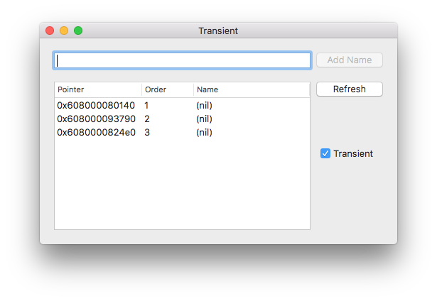Transient app window showing a new checkbox on the right labeled 'Transient'