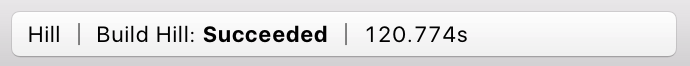 Screenshot of portion of Xcode main window show build result 'Succeeded' with extra section '120.774s'