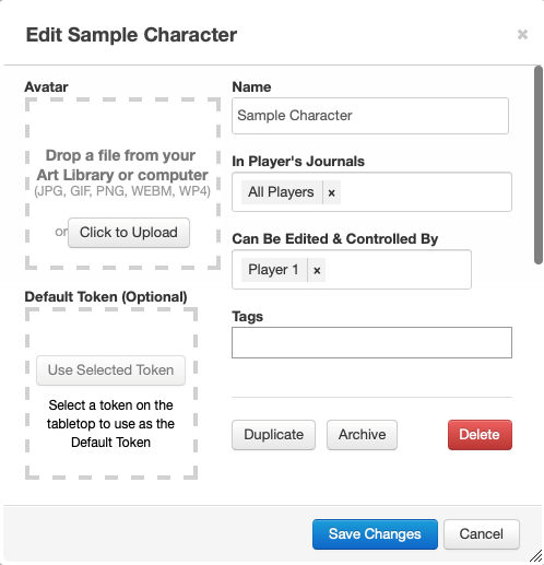 "Screenshot of the edit view for a character sheet. The ""In Player's Journals"" section has been set to a single token called ""All Players"", and the ""Can Be Edited & Controlled By"" section below it has been set to a single token called ""Player 1""."