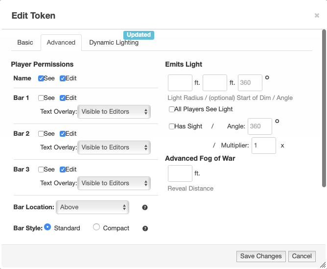 "Screenshot of the edit view for a map token, with the ""Advanced"" tab selected. The ""Name"" section has a checkbox called ""See"" that has been checked."